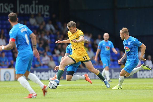 Rhys Oates in action  during the Vanarama National League match between Stockport County and Hartlepool United at the Edgeley Park Stadium, Stockport on Sunday 13th June 2021. (Credit: Mark Fletcher | MI News)