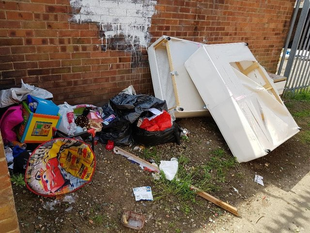 An archive photo of fly-tipped waste in Lime Crescent, Hartlepool.