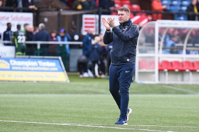 Hartlepool United manager Dave Challinor applauds the fans during the Vanarama National League match between Sutton United  and Hartlepool United at the Knights Community Stadium, Gander Green Lane, Sutton on Saturday 14th March 2020. (Credit: Paul Paxford | MI News)