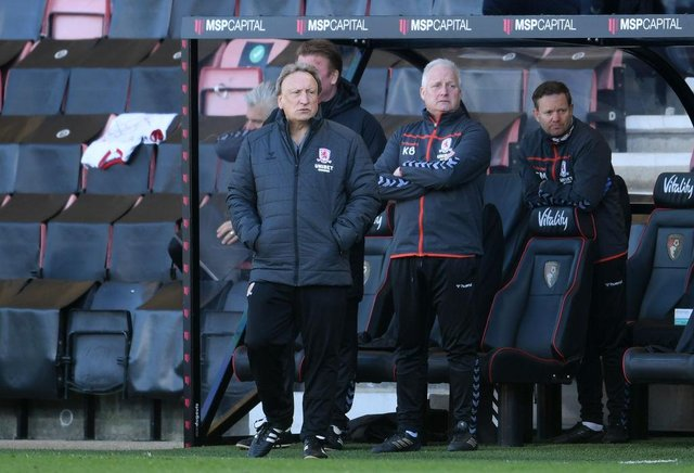 Middlesbrough boss Neil Warnock and assistant Kevin Blackwell.