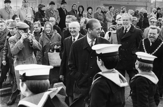 Prince Philip visiting HMS Warrior in 1980.