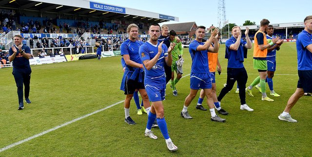 Hartlepool United players following the 3-2 win over Bromley. Picture by FRANK REID