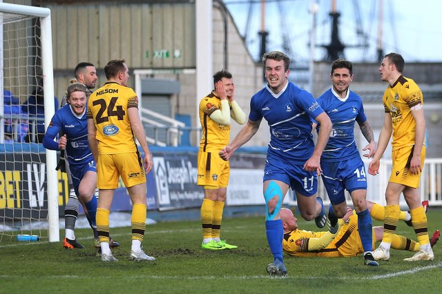 Rhys Oates of Hartlepool United celebrates after scoring their first goal during the Vanarama National League match between Hartlepool United and Sutton United at Victoria Park, Hartlepool on Saturday 30th January 2021. (Credit: Mark Fletcher | MI News)
