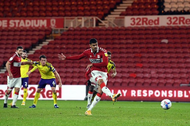 Ashley Fletcher playing for Middlesbrough.