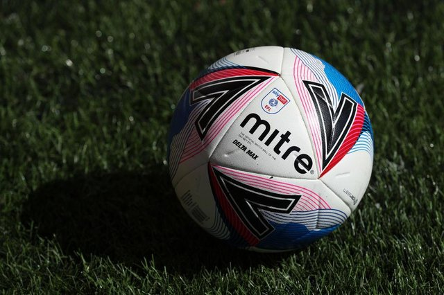 A detailed view of the Mitre Delta Max EFL match ball prior to the Sky Bet League Two match between Tranmere Rovers and Cambridge United at Prenton Park on April 05, 2021 in Birkenhead, England. (Photo by Lewis Storey/Getty Images)