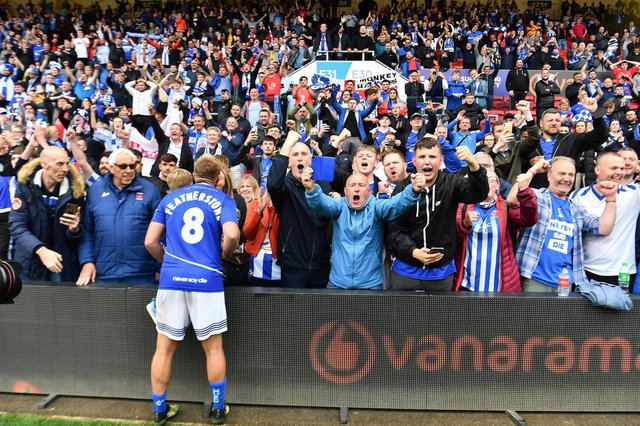 Hartlepool's Nicky Featherstone with fans after the final whistle at Ashton Gate on Sunday - with the town's MP praising both fans and the club for the success in securing promotion back to the Football League in dramatic fashion. Picture by Frank Reid