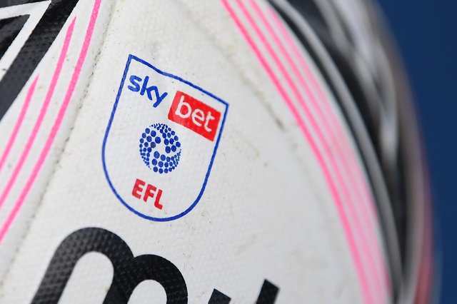 A general view of the EFL logo on the match ball.