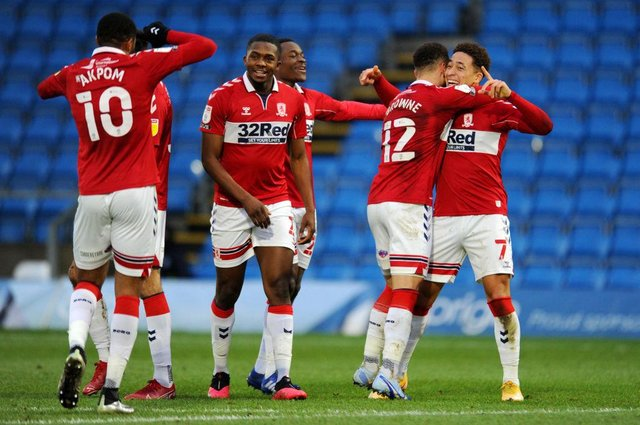 Middlesbrough players celebrate after scoring against Wycombe.