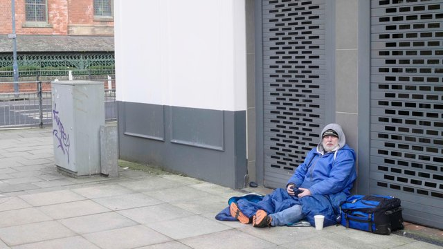 Paul Suggitt on the streets in Hartlepool town centre during the making of the new documentary about homelessness.