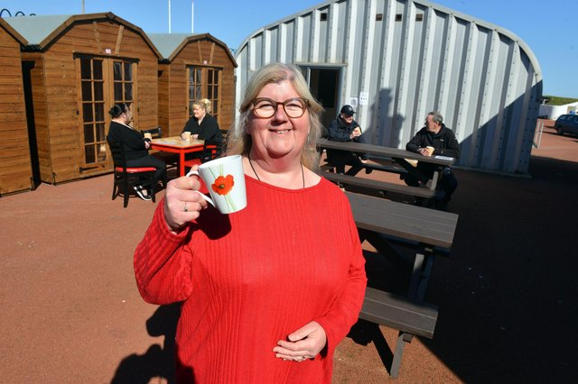 Heugh Battery Museum manager Diane Stephens reopens the museum cafe with its outdoor seating area.