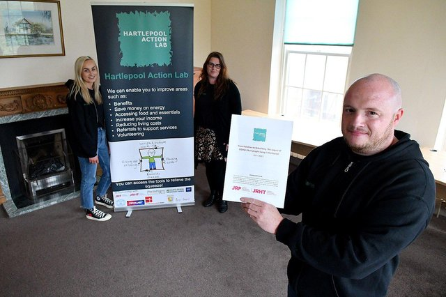 Hartlepool Action Lab members (left to right) Cameron Dudding, Caroline Robinson and Darren Leighton with the report. Picture by FRANK REID